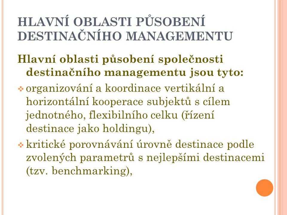 HLAVNÍ OBLASTI PŮSOBENÍ DESTINAČNÍHO MANAGEMENTU Hlavní oblasti působení společnosti destinačního managementu jsou tyto:  organizování a koordinace vertikální a horizontální kooperace subjektů s cílem jednotného, flexibilního celku (řízení destinace jako holdingu),  kritické porovnávání úrovně destinace podle zvolených parametrů s nejlepšími destinacemi (tzv.