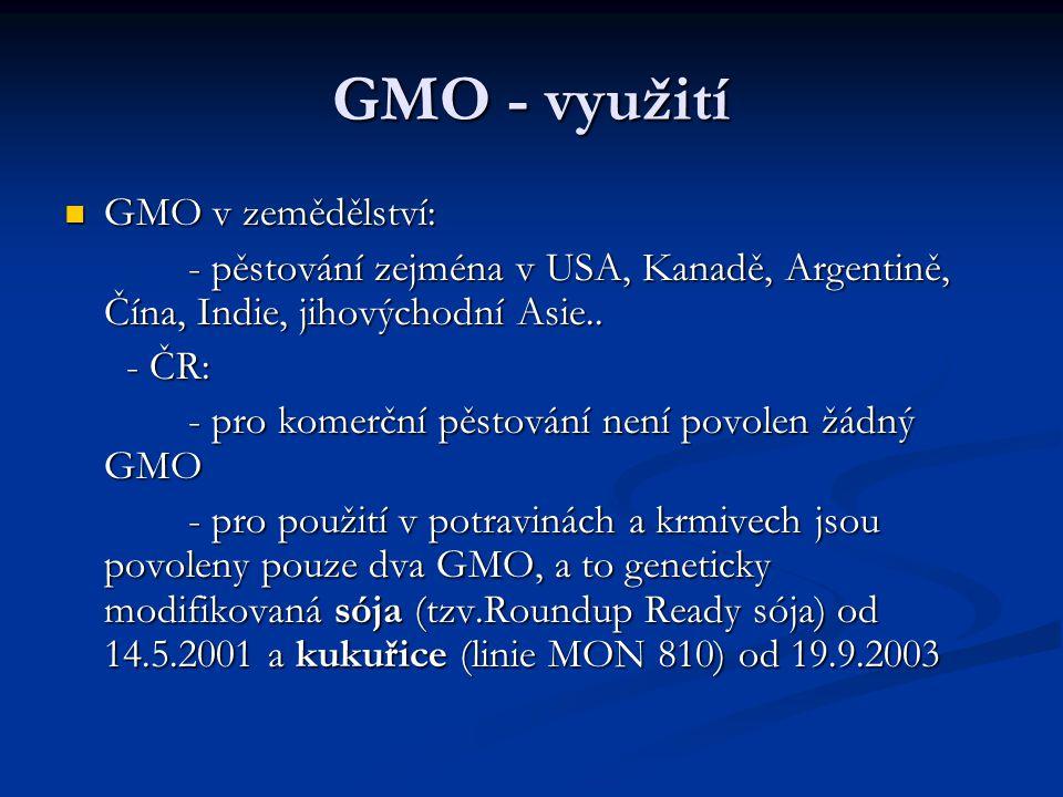 GMO - využití GMO v zemědělství: GMO v zemědělství: - pěstování zejména v USA, Kanadě, Argentině, Čína, Indie, jihovýchodní Asie.. - pěstování zejména