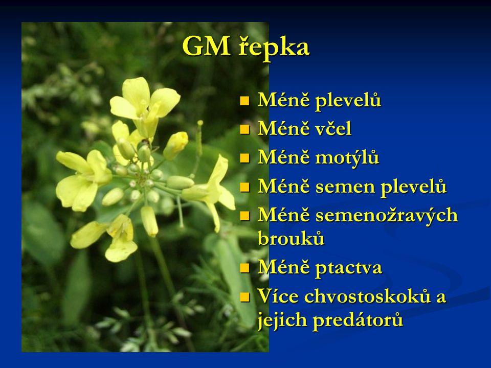 GM řepka Méně plevelů Méně plevelů Méně včel Méně včel Méně motýlů Méně motýlů Méně semen plevelů Méně semen plevelů Méně semenožravých brouků Méně se