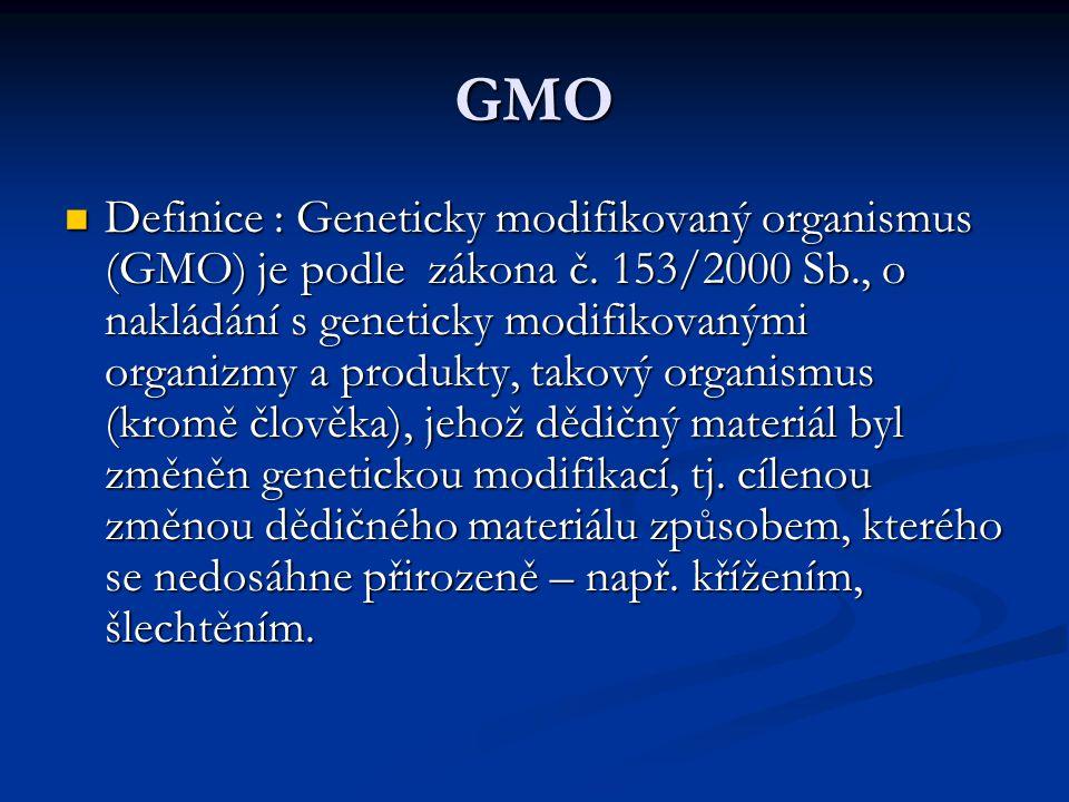 GMO Definice : Geneticky modifikovaný organismus (GMO) je podle zákona č. 153/2000 Sb., o nakládání s geneticky modifikovanými organizmy a produkty, t