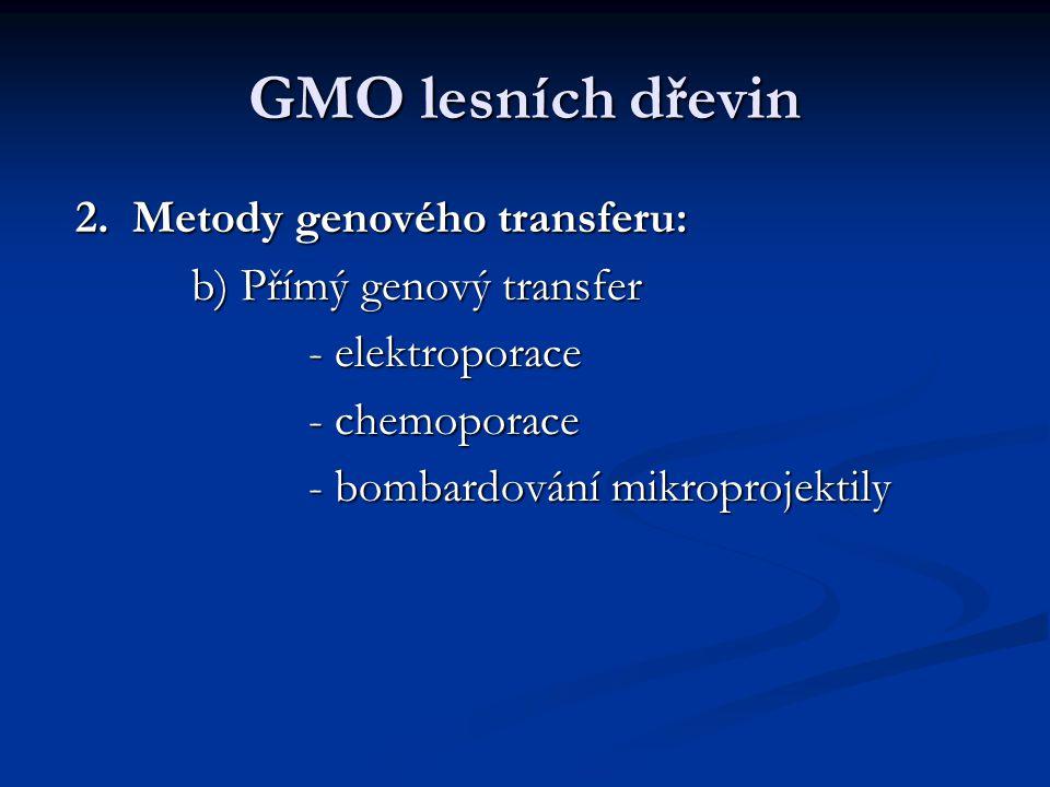 GMO lesních dřevin 2. Metody genového transferu: 2. Metody genového transferu: b) Přímý genový transfer b) Přímý genový transfer - elektroporace - ele