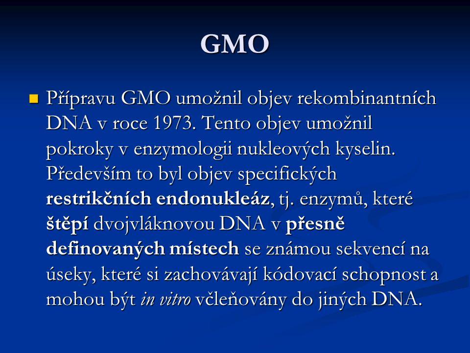 GMO Přípravu GMO umožnil objev rekombinantních DNA v roce 1973. Tento objev umožnil pokroky v enzymologii nukleových kyselin. Především to byl objev s