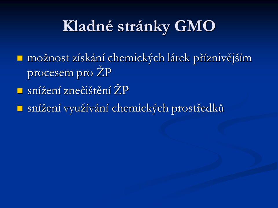 Kladné stránky GMO možnost získání chemických látek příznivějším procesem pro ŽP možnost získání chemických látek příznivějším procesem pro ŽP snížení