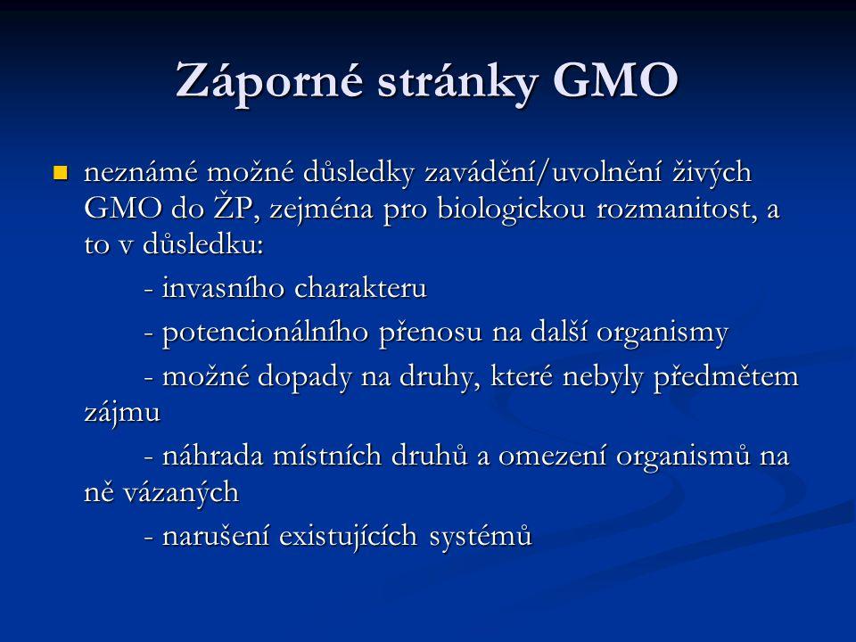 Záporné stránky GMO neznámé možné důsledky zavádění/uvolnění živých GMO do ŽP, zejména pro biologickou rozmanitost, a to v důsledku: neznámé možné důs