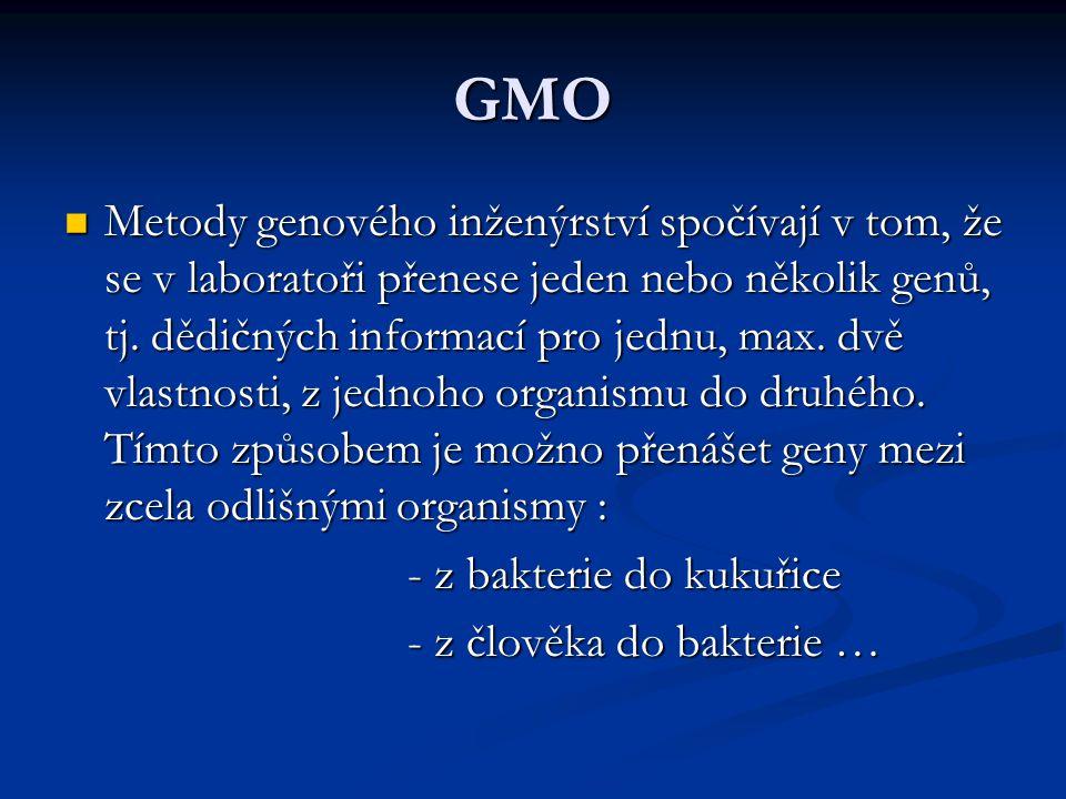 GMO - využití GMO ve výzkumu: GMO ve výzkumu: - nové možnosti pro studium - nové možnosti pro studium struktury dědičné hmoty struktury dědičné hmoty GMO ve farmacii: GMO ve farmacii: - léčiva, která byla dříve získávána - léčiva, která byla dříve získávána ze zvířecích tkání a dnes je ze zvířecích tkání a dnes je vyrábíme pomocí GMO vyrábíme pomocí GMO - inzulím - inzulím - poruchy růstu u dětí - poruchy růstu u dětí - poruchy srážlivosti krve - poruchy srážlivosti krve - těžké plicní poruchy … - těžké plicní poruchy …