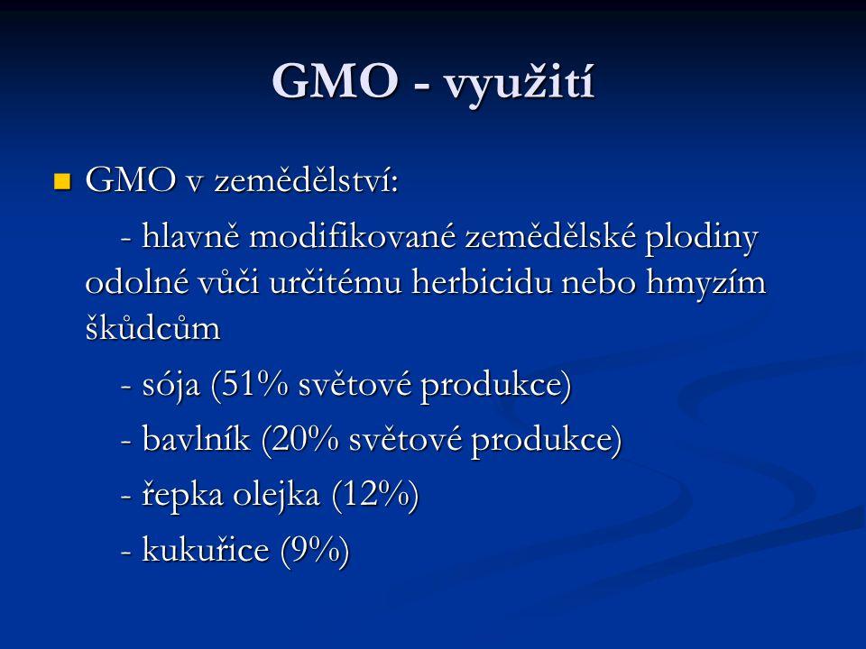 GMO - využití GMO v zemědělství: GMO v zemědělství: - hlavně modifikované zemědělské plodiny odolné vůči určitému herbicidu nebo hmyzím škůdcům - hlav