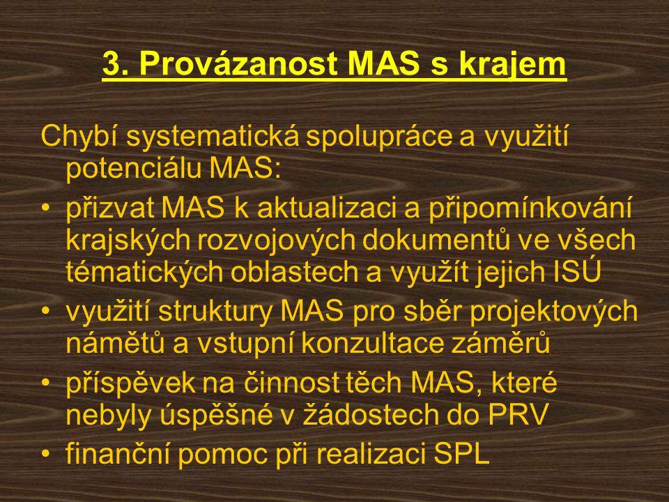 3. Provázanost MAS s krajem Chybí systematická spolupráce a využití potenciálu MAS: přizvat MAS k aktualizaci a připomínkování krajských rozvojových d