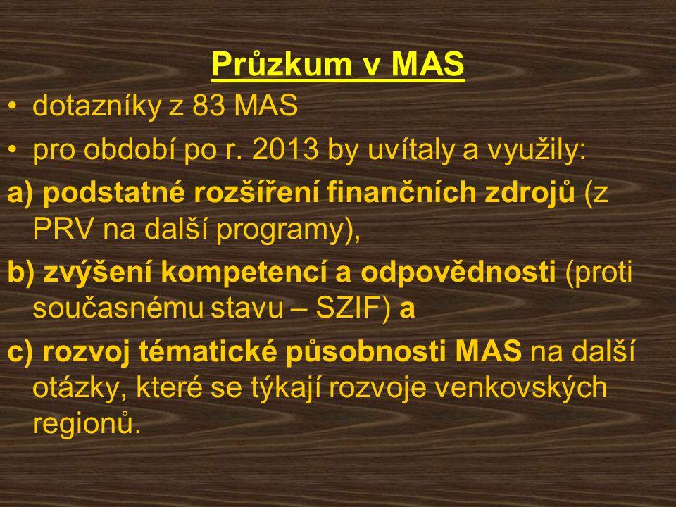 Průzkum v MAS dotazníky z 83 MAS pro období po r. 2013 by uvítaly a využily: a) podstatné rozšíření finančních zdrojů (z PRV na další programy), b) zv
