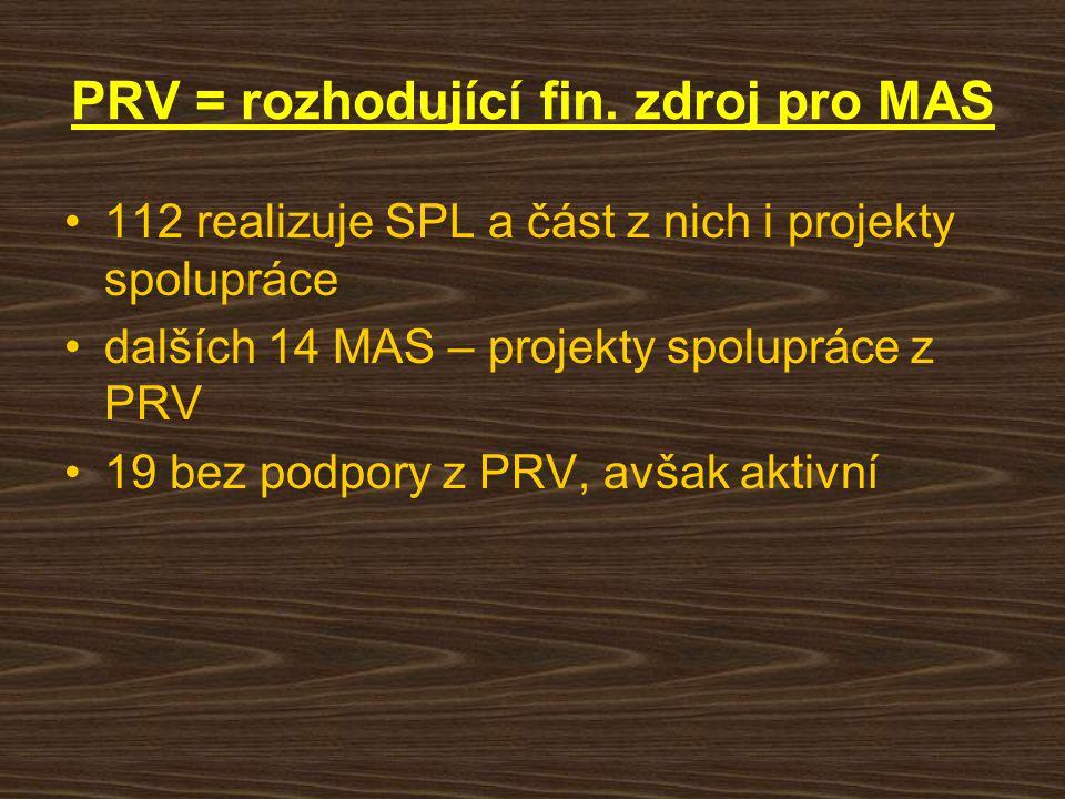 PRV = rozhodující fin. zdroj pro MAS 112 realizuje SPL a část z nich i projekty spolupráce dalších 14 MAS – projekty spolupráce z PRV 19 bez podpory z