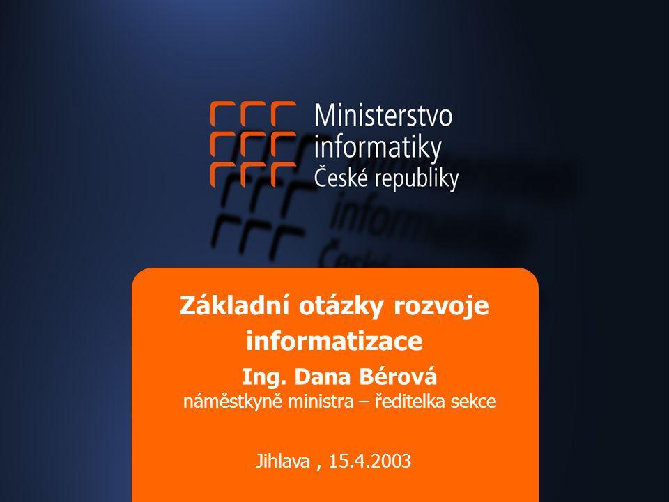 Základní otázky rozvoje informatizace Ing. Dana Bérová náměstkyně ministra – ředitelka sekce Jihlava, 15.4.2003