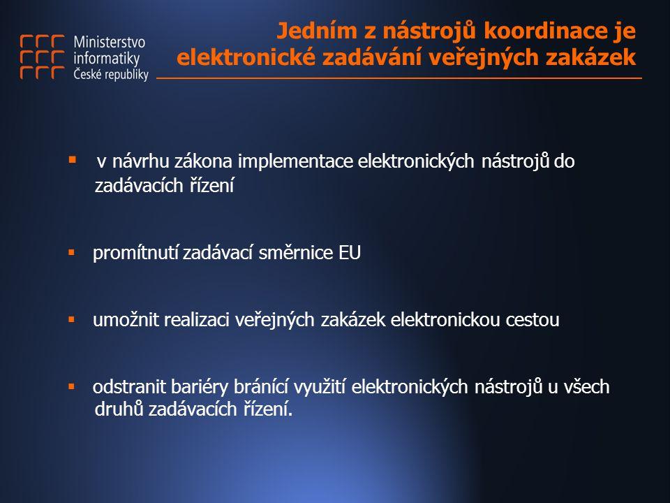  v návrhu zákona implementace elektronických nástrojů do zadávacích řízení  promítnutí zadávací směrnice EU  umožnit realizaci veřejných zakázek elektronickou cestou  odstranit bariéry bránící využití elektronických nástrojů u všech druhů zadávacích řízení.