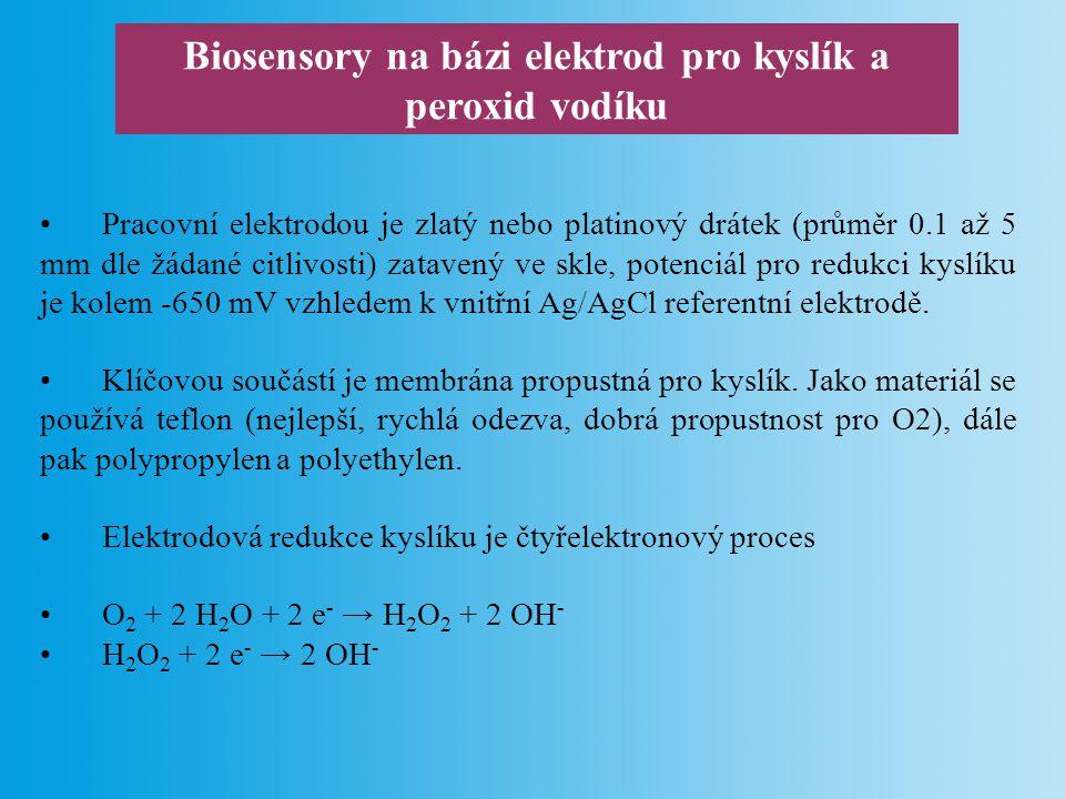 Biosensory na bázi elektrod pro kyslík a peroxid vodíku Sensory jsou použitelné pro biosensory využívající enzymy oxidázy jako biorekogniční element.