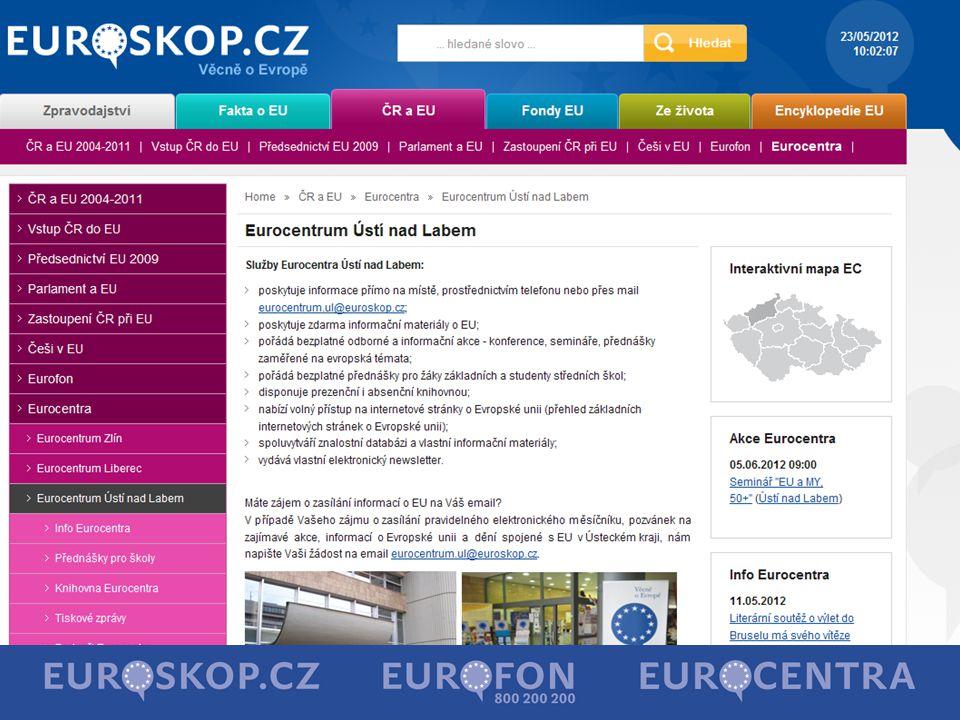 Informační zdroje o fondech EU Seznam příjemců http://www.strukturalni-fondy.cz/Stav-cerpani/Seznamy-prijemcu Realizované projekty http://www.risy.cz/cs/vyhledavace/projekty-eu Mapa projektů http://www.mapaprojektu.cz/cs/index.shtml