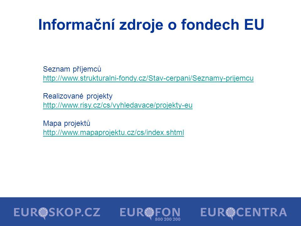 Informační zdroje o fondech EU Seznam příjemců http://www.strukturalni-fondy.cz/Stav-cerpani/Seznamy-prijemcu Realizované projekty http://www.risy.cz/