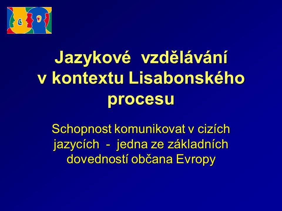 Jazykové vzdělávání v kontextu Lisabonského procesu Schopnost komunikovat v cizích jazycích - jedna ze základních dovedností občana Evropy