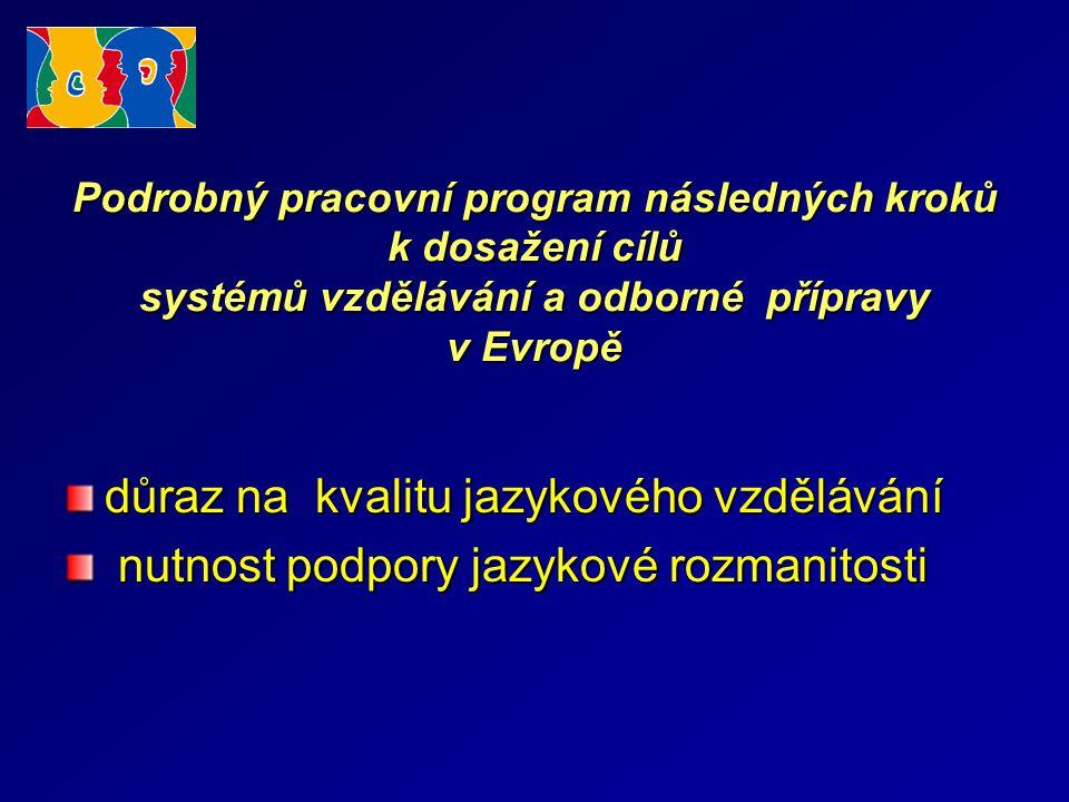 Podrobný pracovní program následných kroků k dosažení cílů systémů vzdělávání a odborné přípravy v Evropě důraz na kvalitu jazykového vzdělávání nutnost podpory jazykové rozmanitosti nutnost podpory jazykové rozmanitosti
