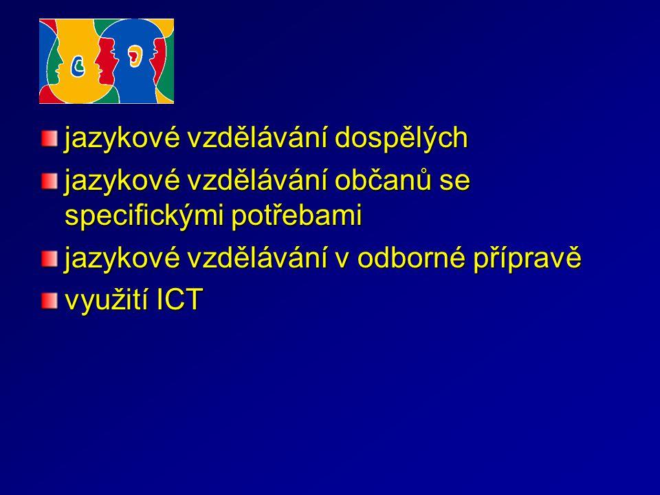 jazykové vzdělávání dospělých jazykové vzdělávání občanů se specifickými potřebami jazykové vzdělávání v odborné přípravě využití ICT