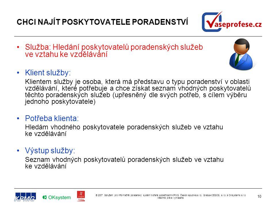 10 © 2007 Sdružení pro Informačně poradenský systém tvořené společnostmiKPMG Česká republika,s.r.o, Gradua-CEGOS, s.r.o. a OKsystems s.r.o. Všechna pr