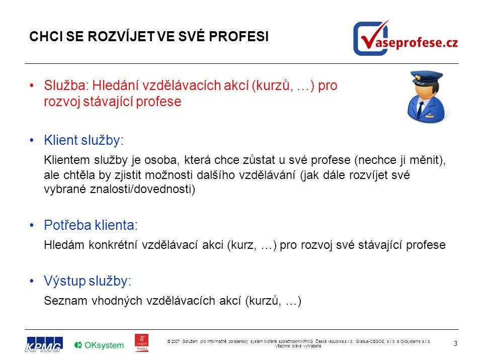 3 © 2007 Sdružení pro Informačně poradenský systém tvořené společnostmiKPMG Česká republika,s.r.o, Gradua-CEGOS, s.r.o. a OKsystems s.r.o. Všechna prá