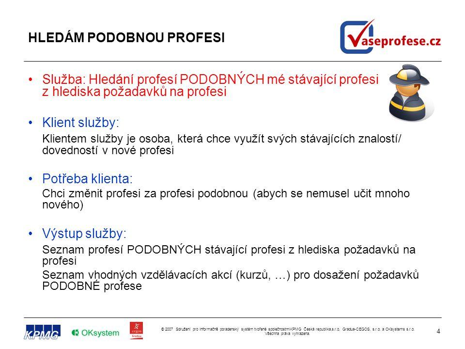 4 © 2007 Sdružení pro Informačně poradenský systém tvořené společnostmiKPMG Česká republika,s.r.o, Gradua-CEGOS, s.r.o. a OKsystems s.r.o. Všechna prá