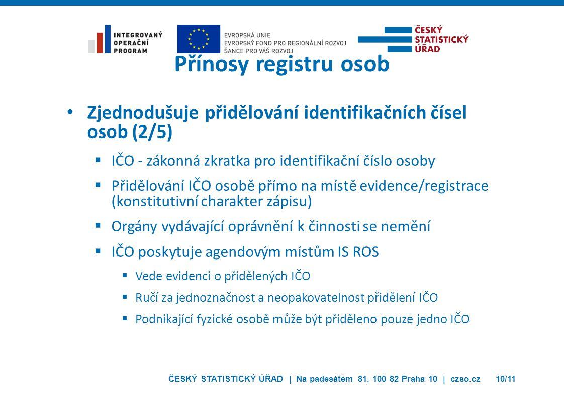 ČESKÝ STATISTICKÝ ÚŘAD | Na padesátém 81, 100 82 Praha 10 | czso.cz10/11 Přínosy registru osob Zjednodušuje přidělování identifikačních čísel osob (2/