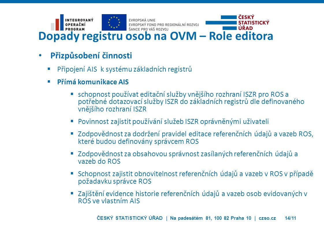 ČESKÝ STATISTICKÝ ÚŘAD | Na padesátém 81, 100 82 Praha 10 | czso.cz14/11 Přizpůsobení činnosti  Připojení AIS k systému základních registrů  Přímá k