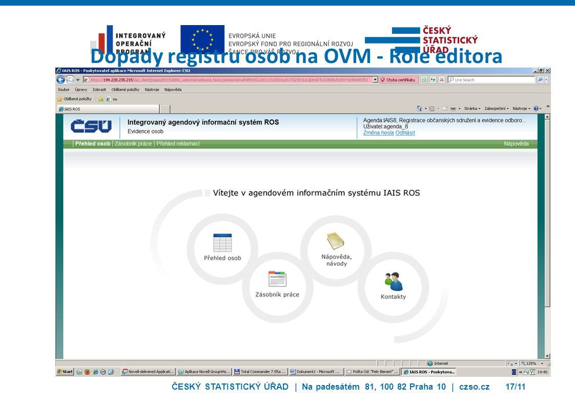 ČESKÝ STATISTICKÝ ÚŘAD | Na padesátém 81, 100 82 Praha 10 | czso.cz17/11 Dopady registru osob na OVM - Role editora