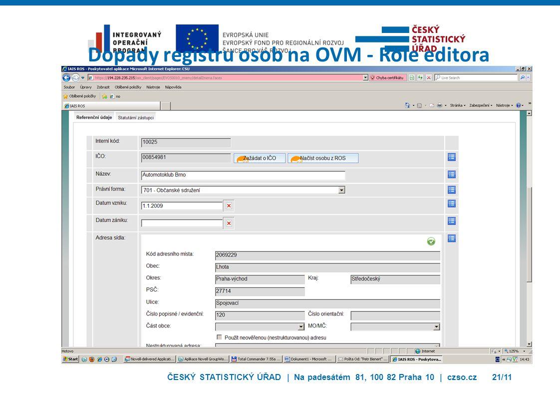 ČESKÝ STATISTICKÝ ÚŘAD | Na padesátém 81, 100 82 Praha 10 | czso.cz21/11 Dopady registru osob na OVM - Role editora