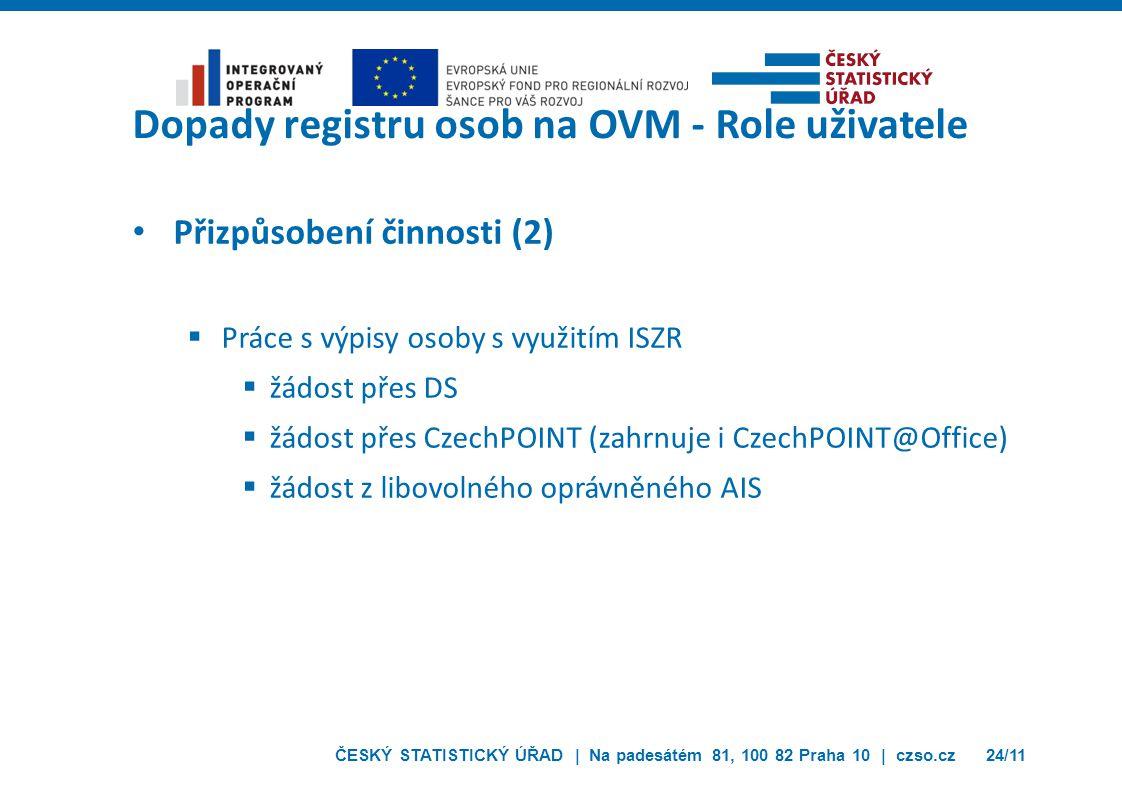 ČESKÝ STATISTICKÝ ÚŘAD | Na padesátém 81, 100 82 Praha 10 | czso.cz24/11 Dopady registru osob na OVM - Role uživatele Přizpůsobení činnosti (2)  Prác