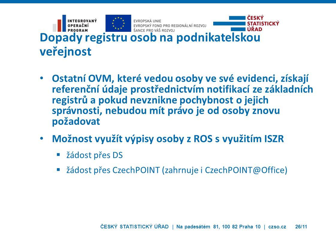 ČESKÝ STATISTICKÝ ÚŘAD | Na padesátém 81, 100 82 Praha 10 | czso.cz26/11 Dopady registru osob na podnikatelskou veřejnost Ostatní OVM, které vedou osoby ve své evidenci, získají referenční údaje prostřednictvím notifikací ze základních registrů a pokud nevznikne pochybnost o jejich správnosti, nebudou mít právo je od osoby znovu požadovat Možnost využít výpisy osoby z ROS s využitím ISZR  žádost přes DS  žádost přes CzechPOINT (zahrnuje i CzechPOINT@Office)