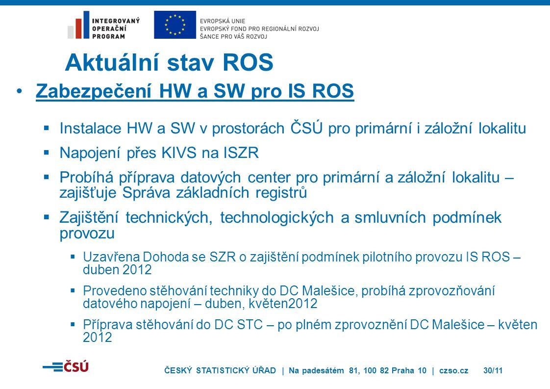 ČESKÝ STATISTICKÝ ÚŘAD | Na padesátém 81, 100 82 Praha 10 | czso.cz30/11 Aktuální stav ROS Zabezpečení HW a SW pro IS ROS  Instalace HW a SW v prostorách ČSÚ pro primární i záložní lokalitu  Napojení přes KIVS na ISZR  Probíhá příprava datových center pro primární a záložní lokalitu – zajišťuje Správa základních registrů  Zajištění technických, technologických a smluvních podmínek provozu  Uzavřena Dohoda se SZR o zajištění podmínek pilotního provozu IS ROS – duben 2012  Provedeno stěhování techniky do DC Malešice, probíhá zprovozňování datového napojení – duben, květen2012  Příprava stěhování do DC STC – po plném zprovoznění DC Malešice – květen 2012
