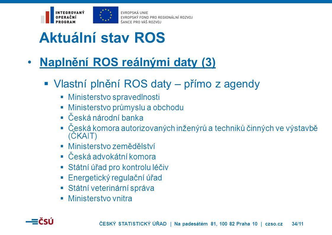 ČESKÝ STATISTICKÝ ÚŘAD | Na padesátém 81, 100 82 Praha 10 | czso.cz34/11 Aktuální stav ROS Naplnění ROS reálnými daty (3)  Vlastní plnění ROS daty –