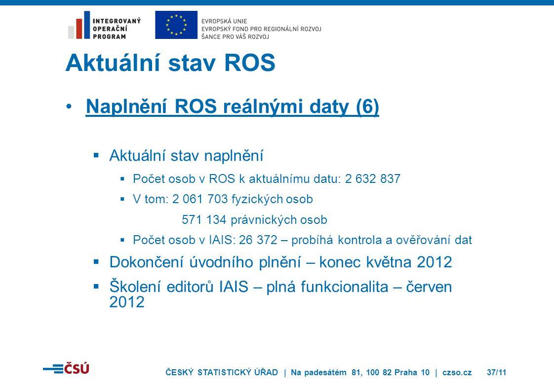 ČESKÝ STATISTICKÝ ÚŘAD | Na padesátém 81, 100 82 Praha 10 | czso.cz37/11 Aktuální stav ROS Naplnění ROS reálnými daty (6)  Aktuální stav naplnění  P
