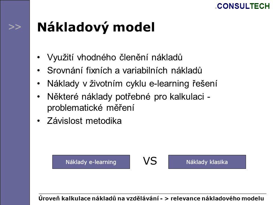 >>. CONSULTECH Nákladový model Využití vhodného členění nákladů Srovnání fixních a variabilních nákladů Náklady v životním cyklu e-learning řešení Něk