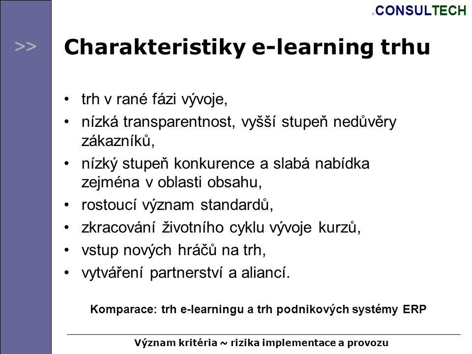 >>. CONSULTECH Charakteristiky e-learning trhu trh v rané fázi vývoje, nízká transparentnost, vyšší stupeň nedůvěry zákazníků, nízký stupeň konkurence