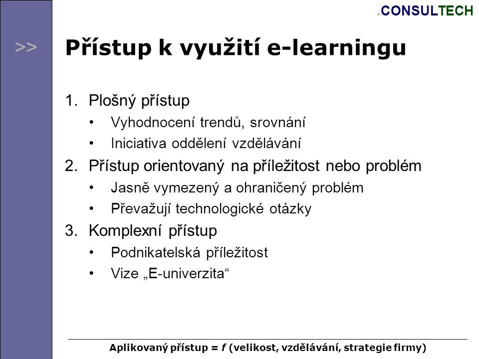 >>.CONSULTECH Rozhodovací problém Definice problému 1.Proč využít e-learning a jaké jsou přínosy.