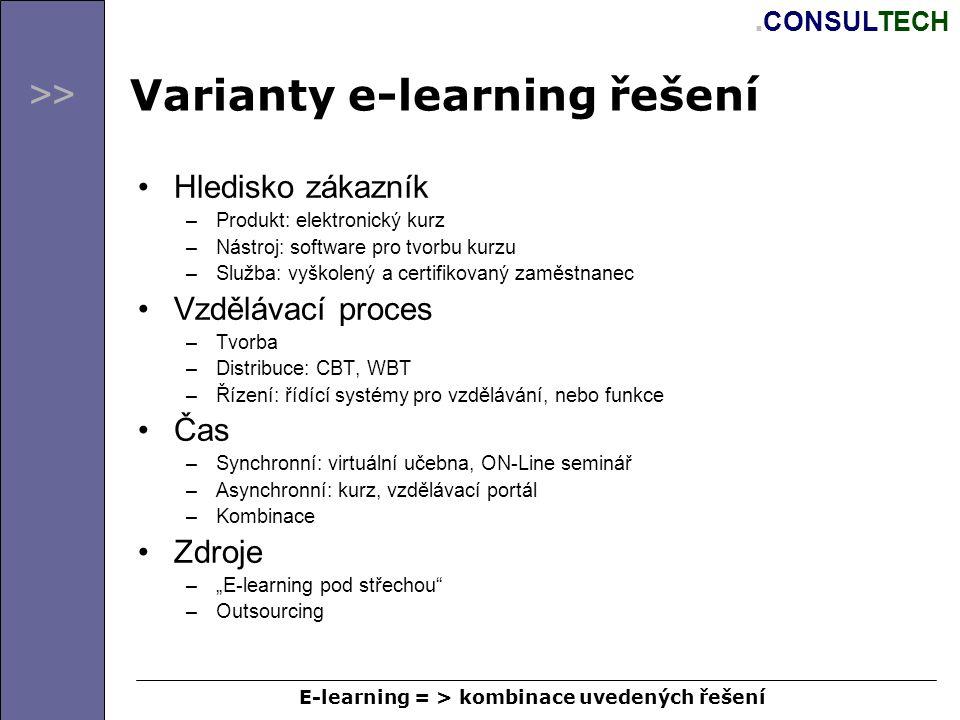 >>. CONSULTECH Varianty e-learning řešení Hledisko zákazník –Produkt: elektronický kurz –Nástroj: software pro tvorbu kurzu –Služba: vyškolený a certi