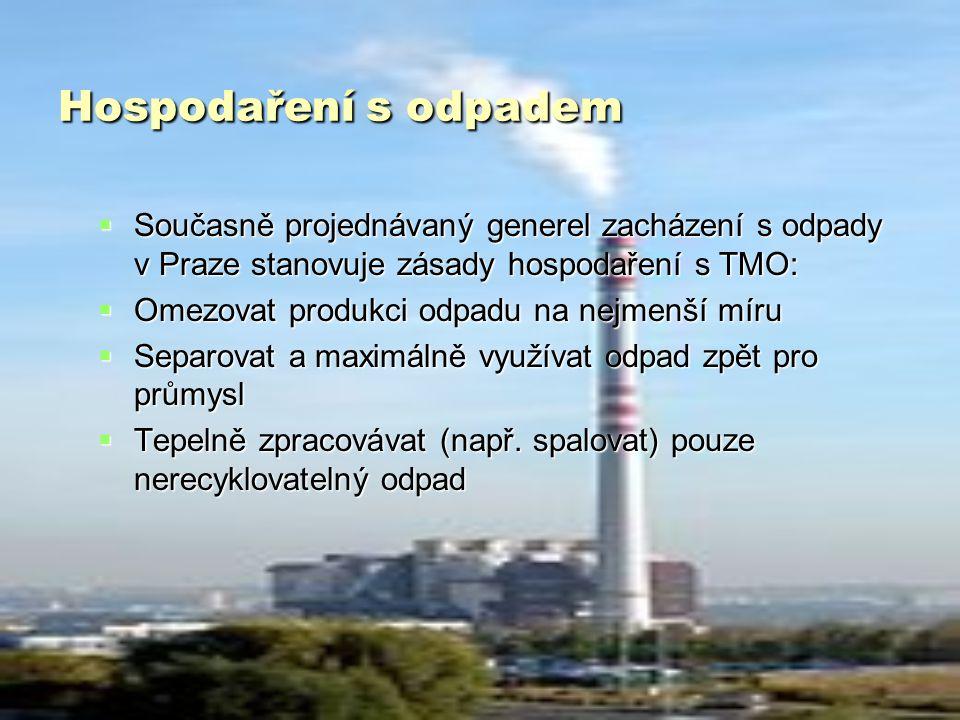 Hospodaření s odpadem  Současně projednávaný generel zacházení s odpady v Praze stanovuje zásady hospodaření s TMO:  Omezovat produkci odpadu na nejmenší míru  Separovat a maximálně využívat odpad zpět pro průmysl  Tepelně zpracovávat (např.