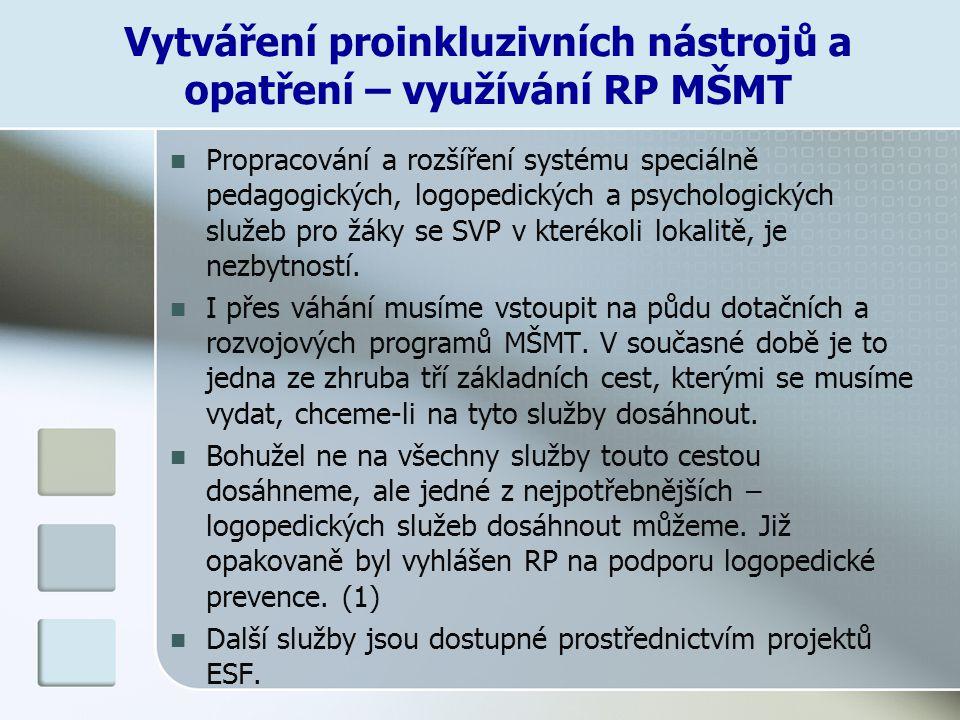 Vytváření proinkluzivních nástrojů a opatření – využívání RP MŠMT Propracování a rozšíření systému speciálně pedagogických, logopedických a psychologi