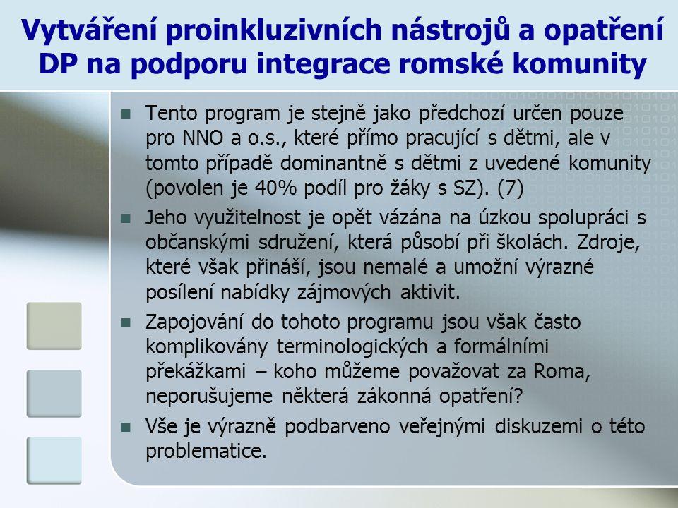 Vytváření proinkluzivních nástrojů a opatření DP na podporu integrace romské komunity Tento program je stejně jako předchozí určen pouze pro NNO a o.s