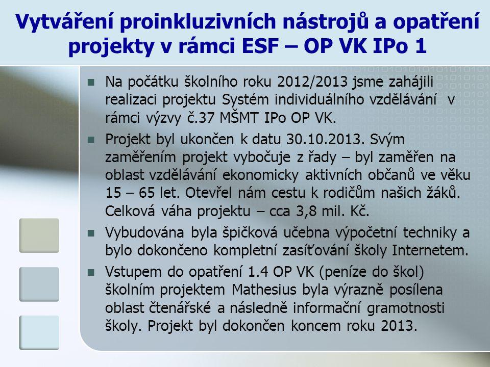 Vytváření proinkluzivních nástrojů a opatření projekty v rámci ESF – OP VK IPo 1 Na počátku školního roku 2012/2013 jsme zahájili realizaci projektu S