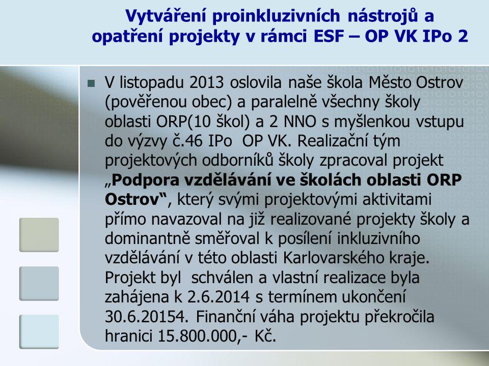 V listopadu 2013 oslovila naše škola Město Ostrov (pověřenou obec) a paralelně všechny školy oblasti ORP(10 škol) a 2 NNO s myšlenkou vstupu do výzvy