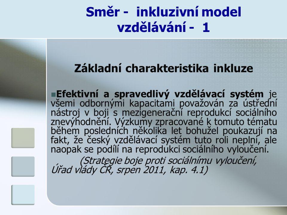 Směr - inkluzivní model vzdělávání - 1 Základní charakteristika inkluze Efektivní a spravedlivý vzdělávací systém je všemi odbornými kapacitami považo