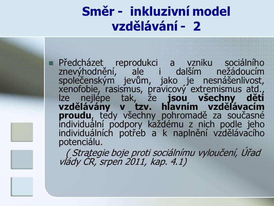 Směr - inkluzivní model vzdělávání - 2 Předcházet reprodukci a vzniku sociálního znevýhodnění, ale i dalším nežádoucím společenským jevům, jako je nes