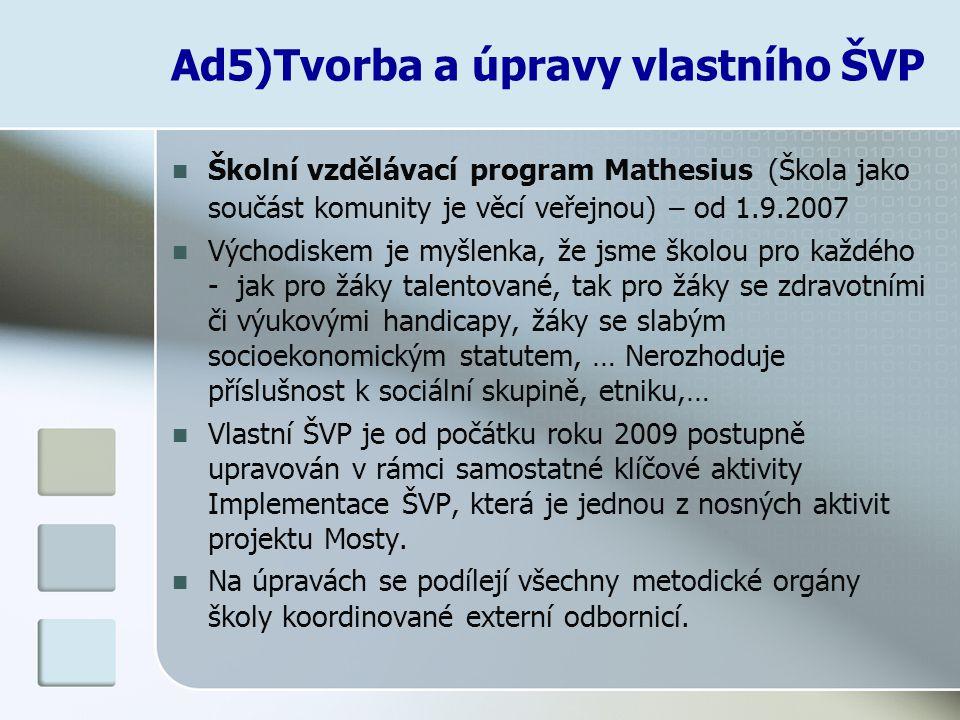 Ad5)Tvorba a úpravy vlastního ŠVP Školní vzdělávací program Mathesius (Škola jako součást komunity je věcí veřejnou) – od 1.9.2007 Východiskem je myšl