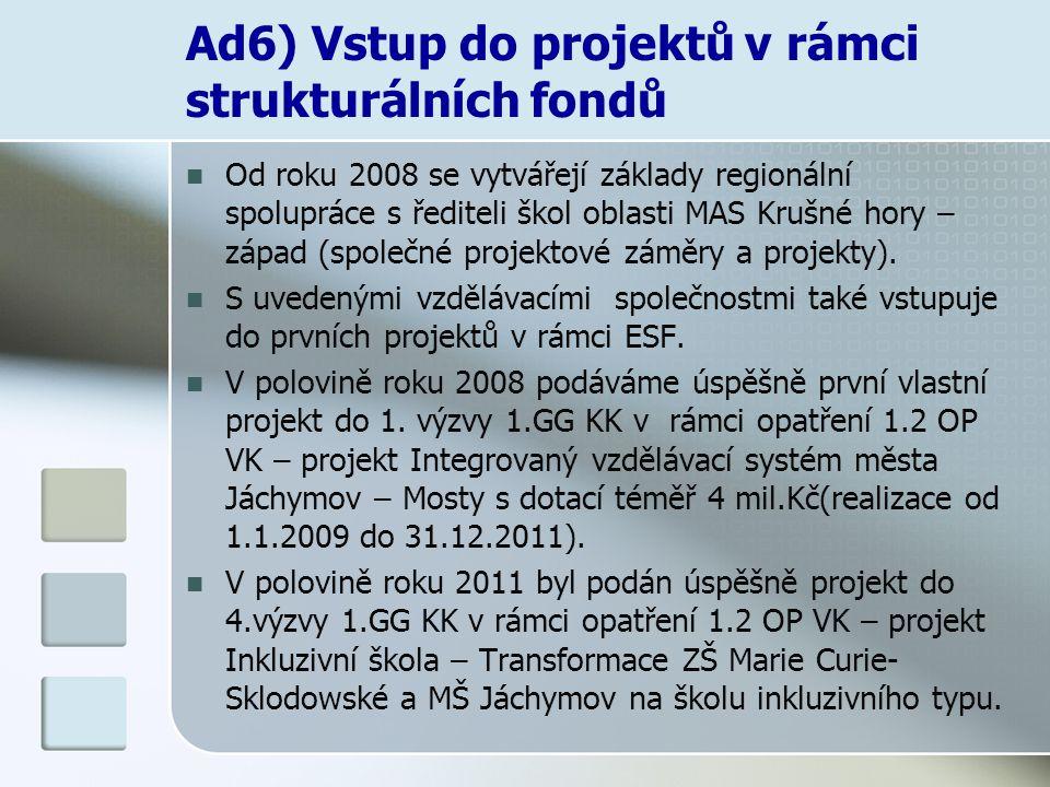 Ad6) Vstup do projektů v rámci strukturálních fondů Od roku 2008 se vytvářejí základy regionální spolupráce s řediteli škol oblasti MAS Krušné hory –