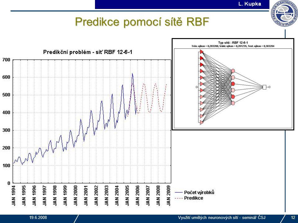 J. Tupa 19.6.2008Využití umělých neuronových sítí - seminář ČSJ12 Predikce pomocí sítě RBF
