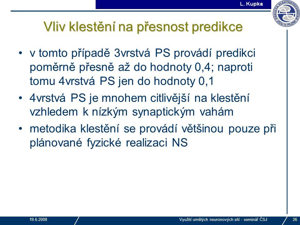 J. Tupa 19.6.2008Využití umělých neuronových sítí - seminář ČSJ26 Vliv klestění na přesnost predikce v tomto případě 3vrstvá PS provádí predikci poměr
