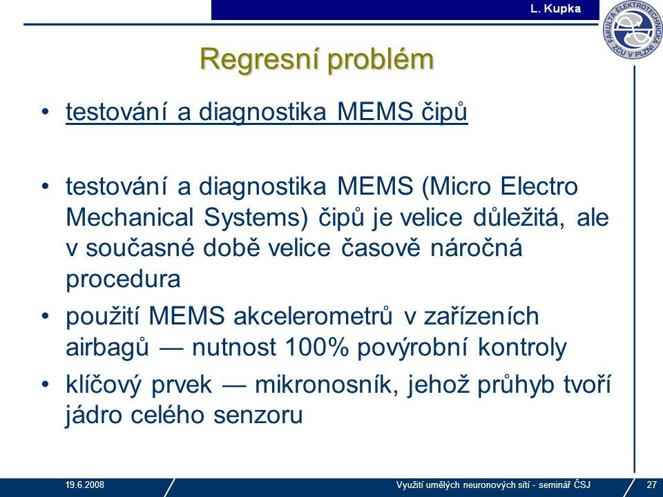 J. Tupa 19.6.2008Využití umělých neuronových sítí - seminář ČSJ27 Regresní problém testování a diagnostika MEMS čipů testování a diagnostika MEMS (Mic