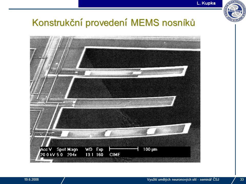 J. Tupa 19.6.2008Využití umělých neuronových sítí - seminář ČSJ33 Konstrukčn í proveden í MEMS nosníků
